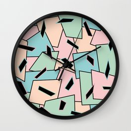 Funky Party Rainbow Colors Memphis 80's Design Pattern Wall Clock
