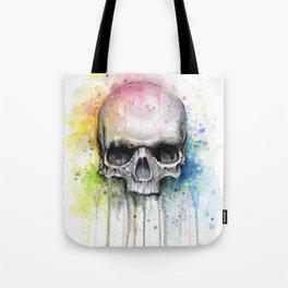 Skull Rainbow Watercolor Tote Bag