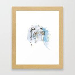 Walrus Illustration Framed Art Print