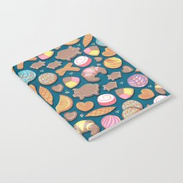 Mexican Sweet Bakery Frenzy // turquoise background // pastel colors pan dulce Notebook