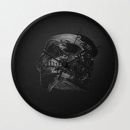 3D Data Mosh Skull - Black Wide Wall Clock
