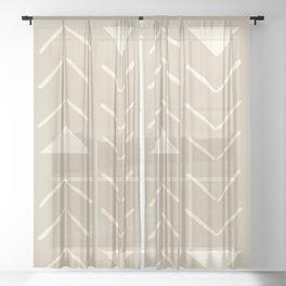 Mud Cloth Vector in Tan Sheer Curtain
