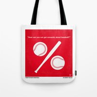 yankees Tote Bags featuring No191 My Moneyball minimal movie poster by Chungkong