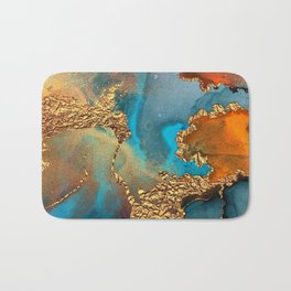 Abstract Blue And Gold Autumn Marble Bath Mat