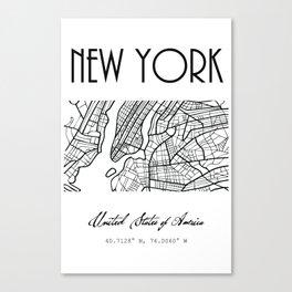NEW YORK City, USA, Street Map & Coordinates Canvas Print