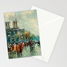 Notre-Dame Cathedral, City Streets of Paris by Antoine Blanchard Stationery Cards