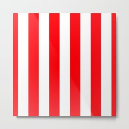 Wide Red and White Christmas Cabana Stripes Metal Print