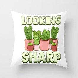 Funny Looking Sharp Cactus & Plants Pun Gardeners Throw Pillow