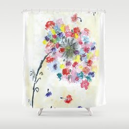 Dandelion watercolor illustration, rainbow colors, summer, free, painting Shower Curtain