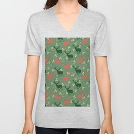 Hand painted Christmas green coral deer candy pattern Unisex V-Neck