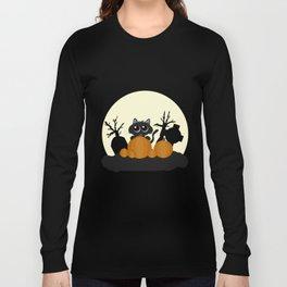 Halloween Black Cat with Pumpkins in a Graveyard Long Sleeve T-shirt