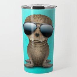 Cute Baby Seal Wearing Sunglasses Travel Mug