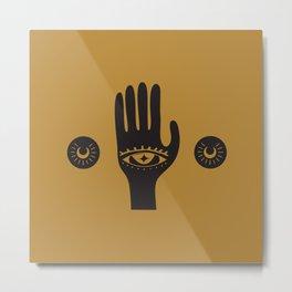 Golden Third Eye Palm Metal Print