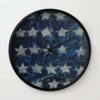 american flag Wall Clocks featuring AMERICAN FLAG by Renaes Art