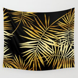 Tropical Palm Fronds Noir Wall Tapestry