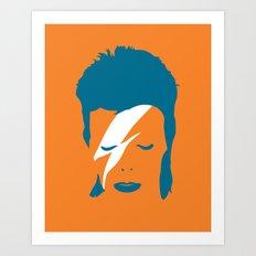 Ziggy Stardust - Orange Art Print