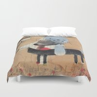 poodle Duvet Covers featuring Poodle by Natalie Pudalov