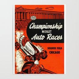 Midget Auto Races, Race poster, vintage poster Poster