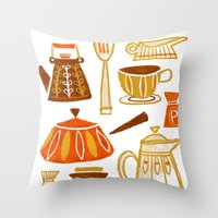 mid century Throw Pillows featuring Mid Century Modern Kitchen by Van Huynh