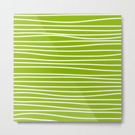 Apple Green & White Maritime Hand Drawn Stripes- Mix & Match with Simplicity of Life Metal Print