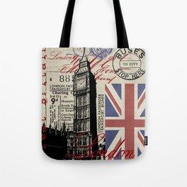 London Great Britain Big Ben Flag Collage #Society6Art Tote Bag