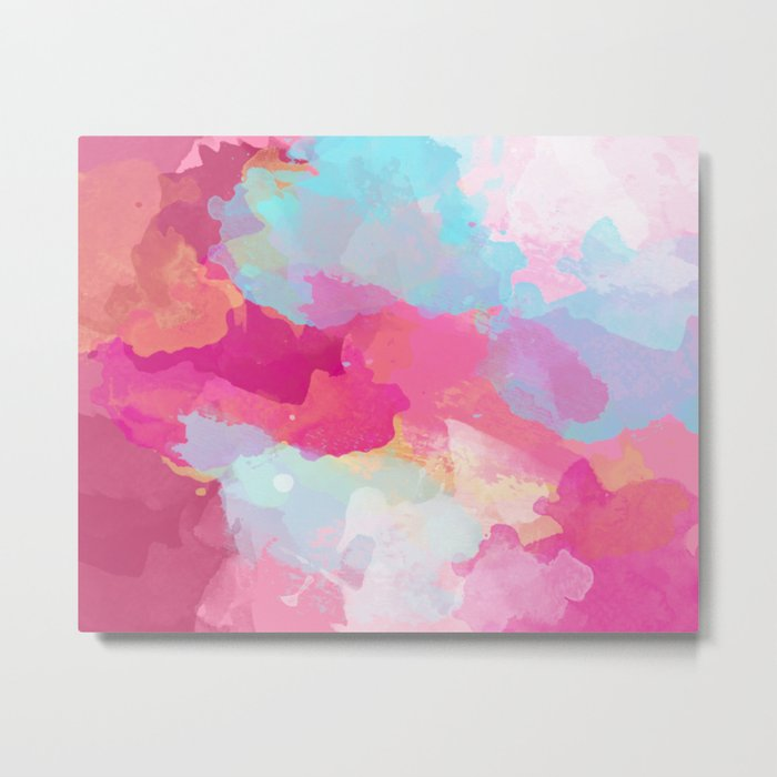 Colorful Abstract - pink and blue pattern Metal Print
