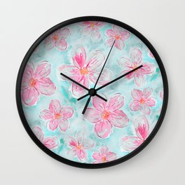 Hand painted teal fuchsia watercolor floral Wall Clock