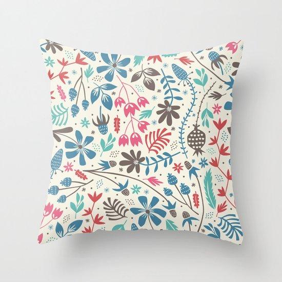 Retro Blooms Throw Pillow
