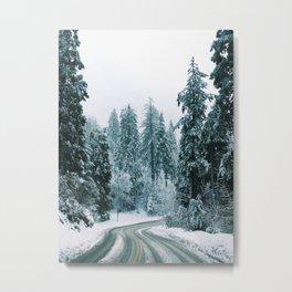 Snow Covered Road Metal Print