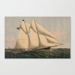 Vintage Illustration of a Schooner Sailboat (1867) Canvas Print