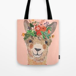 Llama with Flower Crown by Mia Charro Tote Bag
