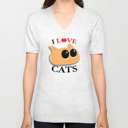 I Love Cats Unisex V-Neck