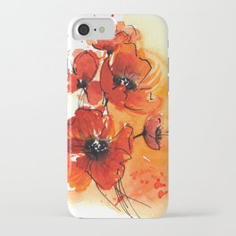 Red Poppy Flowers Watercolor Painting iPhone Case