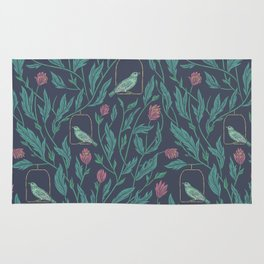Green birds in cage with pink flowers on dark purple background Rug