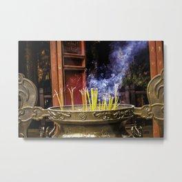 Incense Sticks Burning at the Ngoc Son Temple in Hanoi, Vietnam Metal Print
