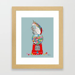 Unicorn Gumball Poop Framed Art Print