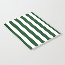 Large Forest Green and White Rustic Vertical Beach Stripes Notebook