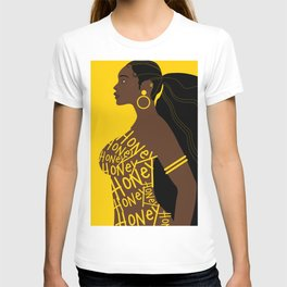 Honey // Yellow, Melanin, Woman, Femme, Black, Brown, Gold T-shirt