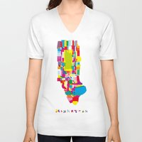 manhattan V-neck T-shirts featuring Manhattan Fragments by Glen Gould