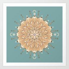 Sand and Turquoise Seashore Mandala Art Print