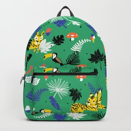 Tropical leaves, Rainforest tigers and toucans Backpack