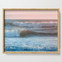 Beach Adventure Summer Waves at Sunset Serving Tray