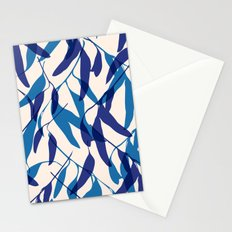 Gum leaves pattern in blue Stationery Cards