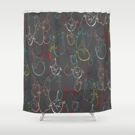 Lined Eggplants Shower Curtain