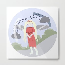 Nature-girl in globe Metal Print