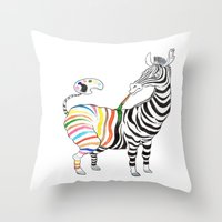 zebra Throw Pillows featuring Zebra by gunberk