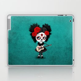 Day of the Dead Girl Playing South Korean Flag Guitar Laptop & iPad Skin
