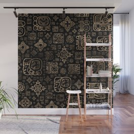 Mayan glyphs and ornaments pattern -gold on black Wall Mural