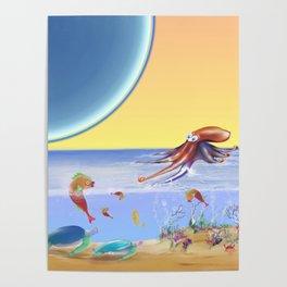 Sealife Family Childrens Illustration Poster