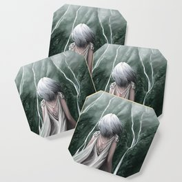 Girl  standing by a mountain Digital Art Painting Coaster